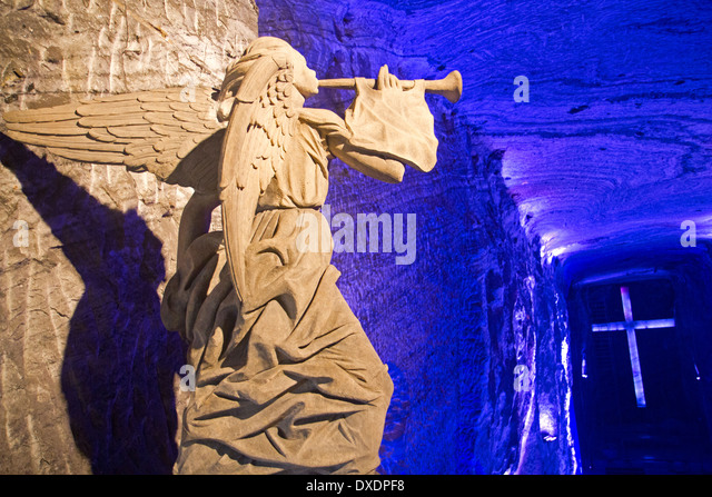 Angel statue overlooking the main chapel in the Salt Cathedral at Zipaquira - Stock Image