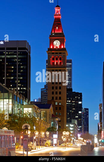 May D & F Tower, 16th Street Mall, Denver, Colorado USA - Stock-Bilder