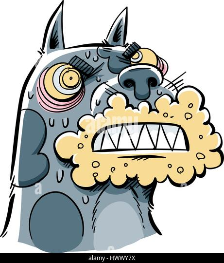 A cartoon of a rabid dog with a foaming, angry mouth. - Stock Image