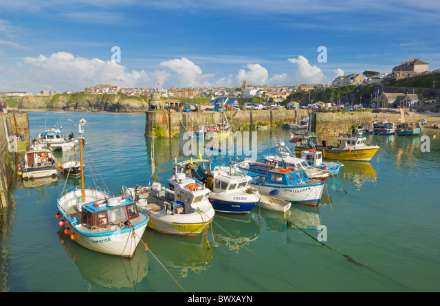 Boats moored in the harbour, Newquay, Cornwall, England, GB, UK, EU, Europe - Stock Image
