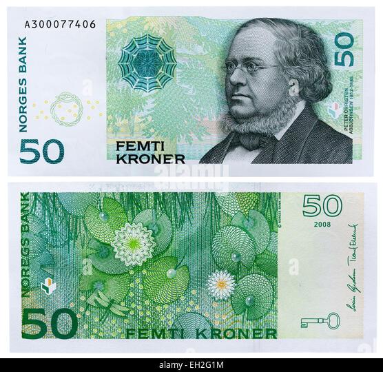 50 Kroner banknote, Peter Christen Asbjornsen, Norway, 2008 - Stock-Bilder