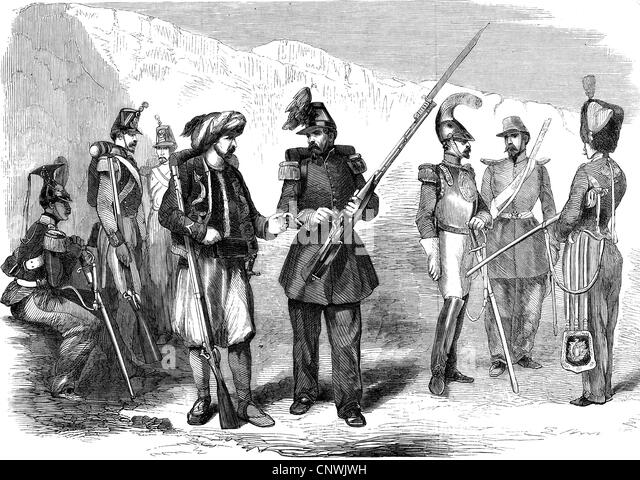 events, Crimean War 1853 - 1856, French auxiliaries for the Orient, from left: Lanzier, Sappeur, Zouave, Chasseur - Stock Image