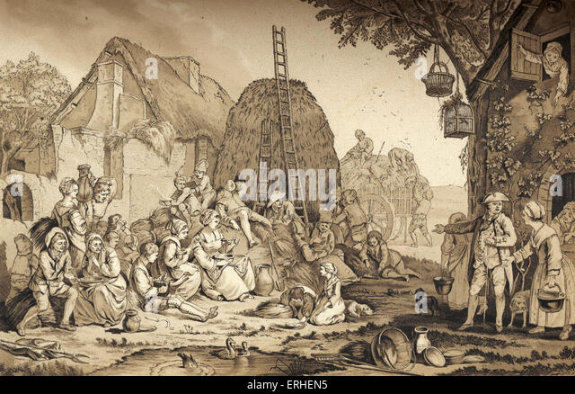 Haymakers having their lunch, 18th century. French pastoral peasants. Idyllic scene. - Stock Image