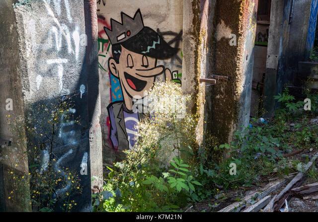 Graffiti at Abandoned Power Station near Jordan River, Vancouver Island, British Columbia, Canada - Stock Image