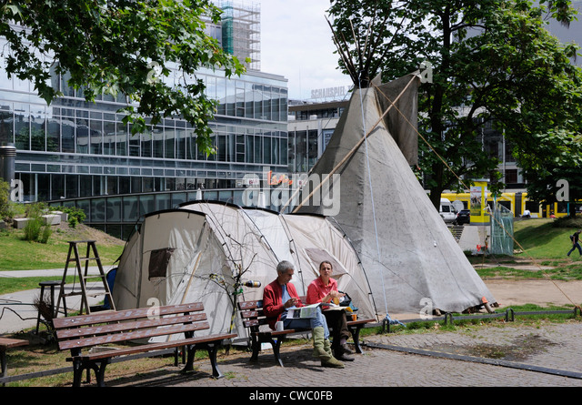 Occupy Frankfurt demonstrators outside the European Central Bank, Germany. - Stock Image