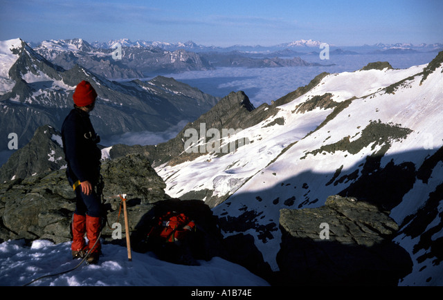 On the summit of Pt. des Pichères, French Alps, France - Stock Image