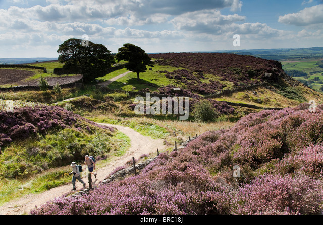 People out enjoying the Peak District National Park Derbyshire England United Kingdom - Stock Image