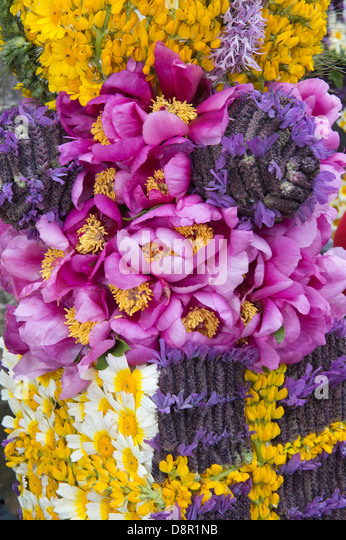 Details of the flower arrangement for the Easter Sunday Flower Torches Festival São Brás de Alportel Algarve - Stock Image