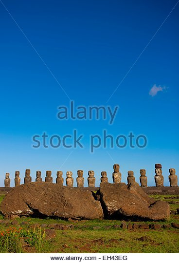 Chile, Easter Island (Rapa Nui), site listed as World Heritage by UNESCO, Ahu Tongariki is the largest ahu, its - Stock Image