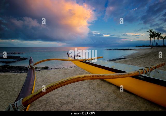 Outrigger boat on the Kohala Coast. The Big Island, Hawaii. - Stock Image