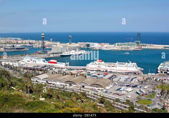 Long Shot of Liners in the Port of Barcelona - Stock Image
