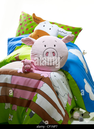 A still life shot of a child's bedding set - Stock Image