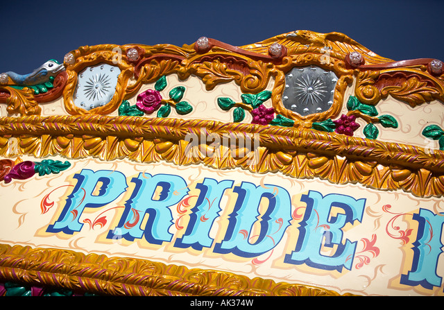 DETAIL OF CARNIVAL ATTRACTION WITH THE WORD PRIDE - Stock-Bilder