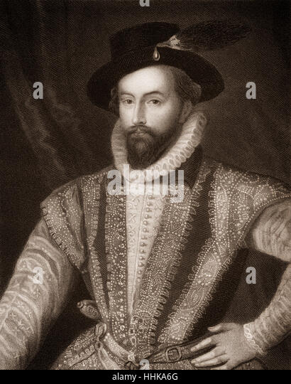 Sir Walter Raleigh, 1554 - 1618, an English aristocrat, writer, poet and explorer - Stock Image
