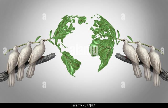 Global relations concept as a group of white peace doves holding olive branches coming together from the east and - Stock-Bilder