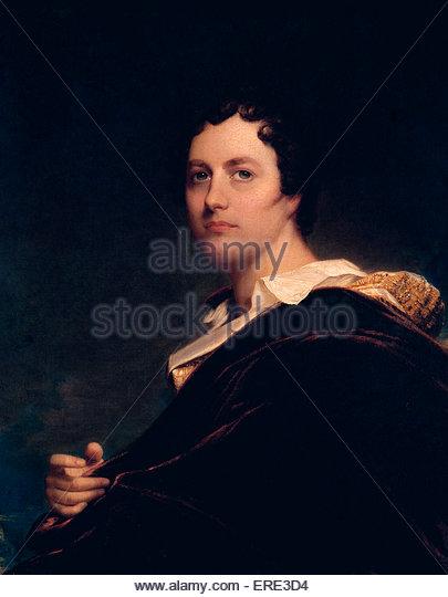 Lord Byron, oil painting by William Edward West, 1822. George Gordon Byron, 6th Lord Byron of Rochdale, British - Stock Image