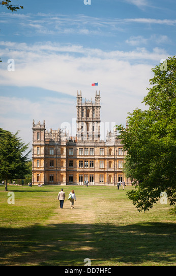 Highclere Castle Newbury Earl & Countess of Carnarvan setting TV serial show drama Downton Abbey side east lawn - Stock Image