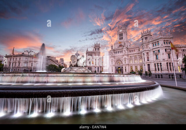 Madrid, Spain at Communication Palace and Cibeles Plaza. - Stock-Bilder