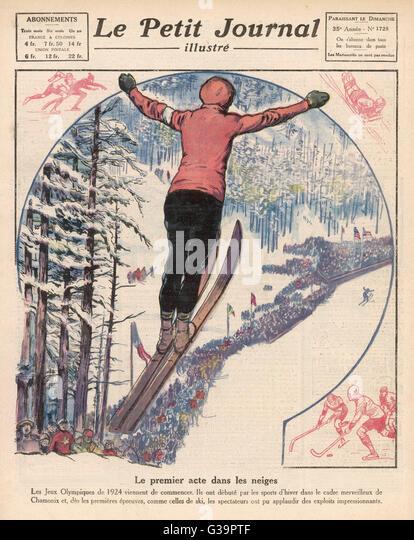 Winter games at Chamonix:  ski jumping, ice hockey  and skating        Date: 1924 - Stock Image
