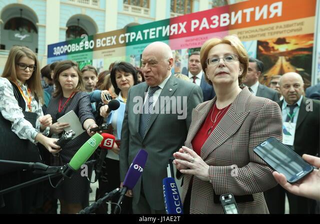 Moscow, Russia. 19th Apr, 2017. Russia's Healthcare Minister Veronika Skvortsova and Head of Bakulev Scientific - Stock Image