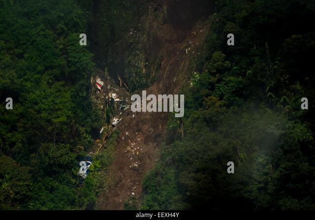 Sukhoi Superjet 100 (SSJ-100) crash site atop Mount Salak, two days after accident. - Stock Image