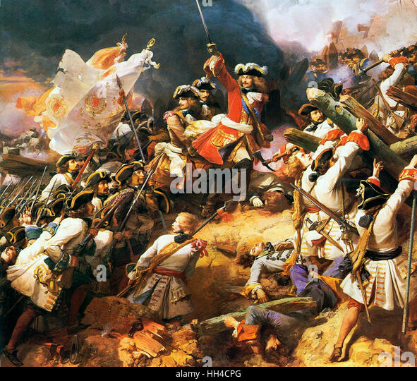 The Battle of Denain fought on 24 July 1712, as part of the War of the Spanish Succession. It resulted in a French - Stock Image