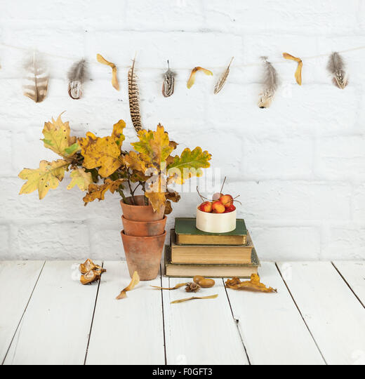 autumn decorations at home - feather and seedheads garland, oak leaves, crab apples, nuts, books - Stock Image