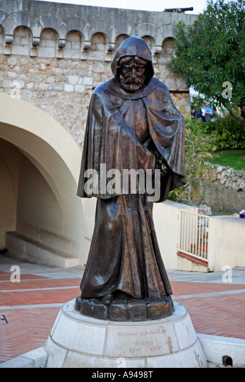 Bronze statue of Francois Grimaldi known as Malizia on the Place du Palais at Monaco - Stock Image
