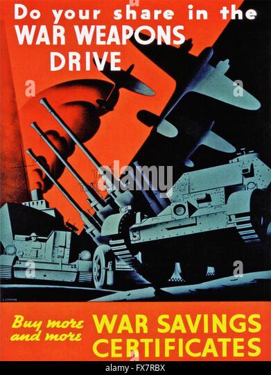 War Weapons Drive - World War II - U.S propaganda Poster - Stock Image