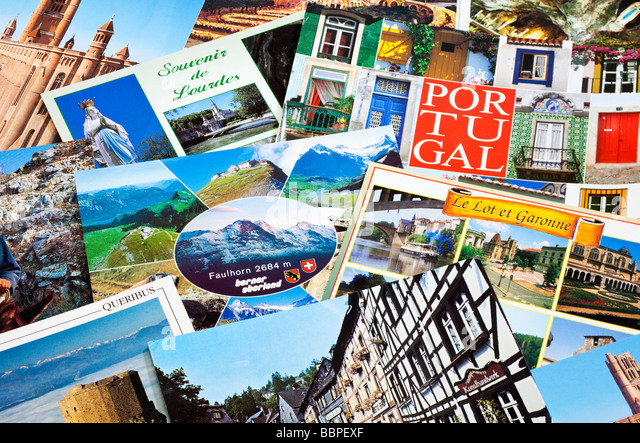 Pile of European travel postcards close up - Stock-Bilder