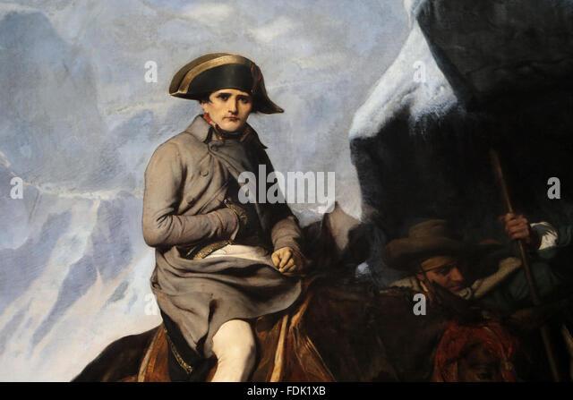 Napoleon Bonaparte (1769-1821). Bonaparte Crossing the Alps, 1850. By Paul Delaroche (1797-1856). Journey Napoleon - Stock-Bilder