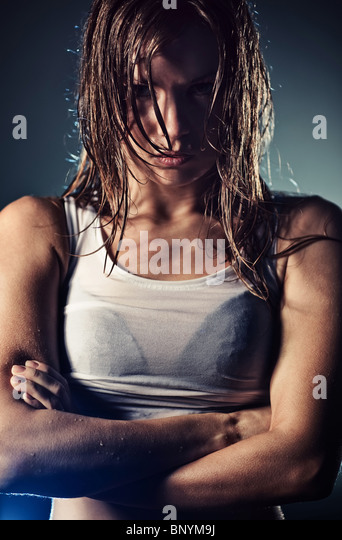 Young cool strong woman portrait. - Stock-Bilder