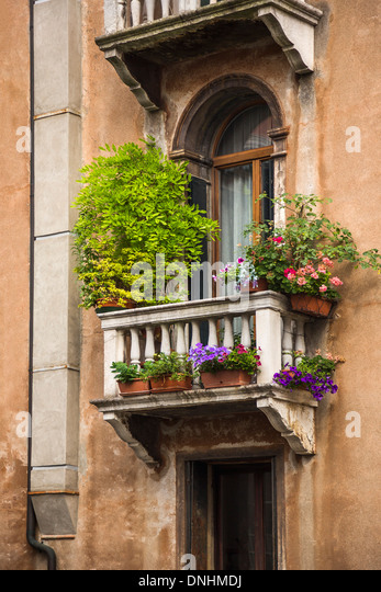 Low angle view of a balcony of residential building, Venice, Veneto, Italy - Stock-Bilder