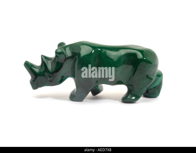 Rhino Sculpture made from Malachite - Stock Image