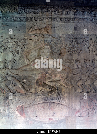 reliefs, Angkor Wat temple, Cambodia - Stock Image