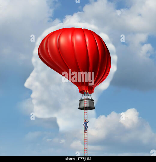Examining the brain medical concept or business aspiration metaphor as a man climbing or descending a ladder to - Stock Image