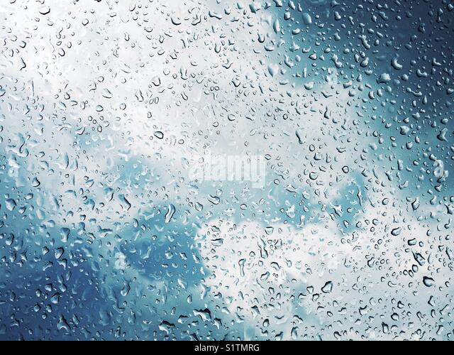 Raindrops from the sky - Stock Image