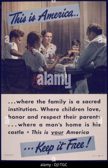 THIS IS AMERICA... WHERE THE FAMILY IS A SACRED INSTITUTION 766 - Stock-Bilder