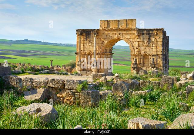 Roman ruins of Volubilis near Meknes, Decumanus Maximus, UNESCO, Morocco, Africa - Stock Image