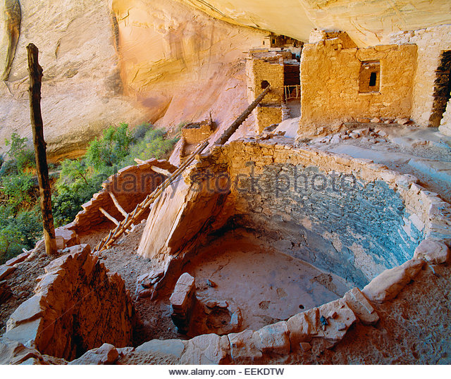 Ancient Anasazi kiva [ceremonial chamber] Navajo National Monument, Arizona. - Stock-Bilder