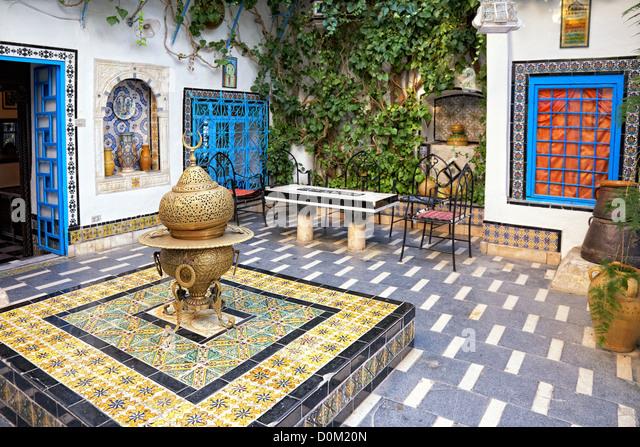 traditional courtyard at Sidi Bou Said, Tunis, Tunisia - Stock Image