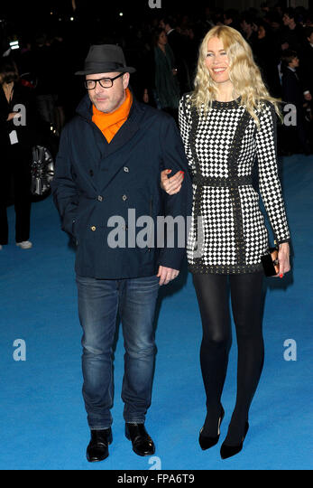 London, UK. 17th March, 2016. Matthew Vaughn & Claudia Schiffer The Eagle Edwards, Taron Egerton attending the - Stock Image