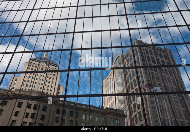 Reflection of buildings on glass window, Berkeley Building, 500 Boylston Street, John Hancock Tower, Boston - Stock Image