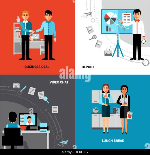Business People 4 Flat Icons Composition . Business office concept 4 flat icons square composition banner with - Stock-Bilder