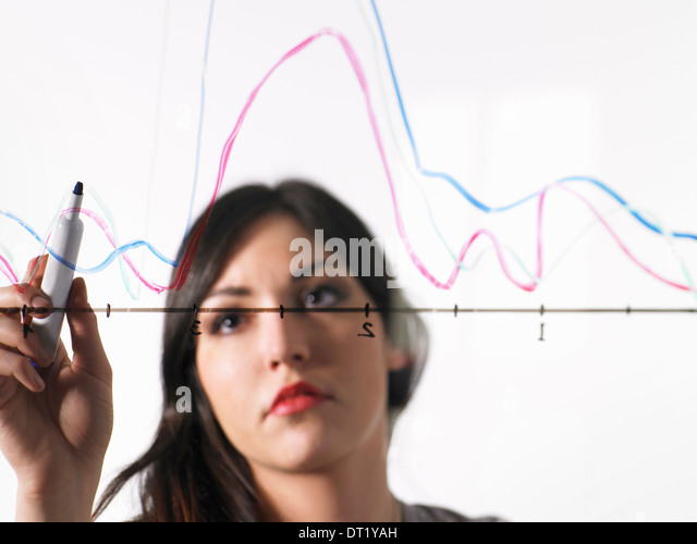 A young woman drawing coloured graph lines across a graph illustration on a see through surface - Stock Image