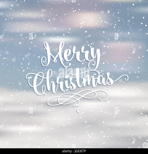 Merry Christmas words on a snowy background - Stock Image