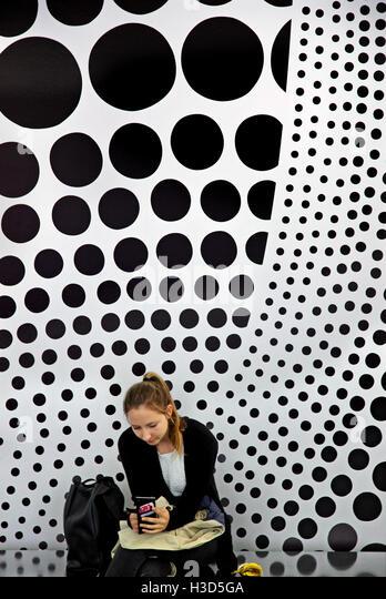 In the foyer of the Museum of Modern Art (Moderna Museet), Skeppshomen, Stockholm, Sweden. - Stock Image