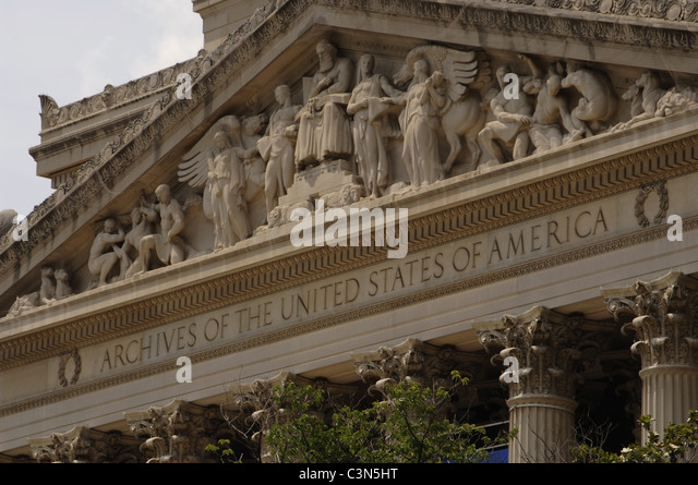 National Archives Building. Exterior detail. Washington D.C. United States. - Stock Image