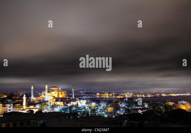 Hagia Sofia mosque at night, Istanbul, Turkey - Stock Image