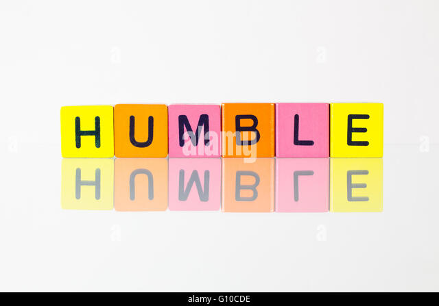 Humble - an inscription from children's wooden blocks - Stock Image